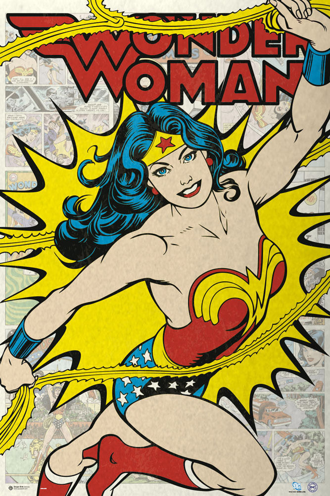 wonder woman dc comics poster print retro style. Black Bedroom Furniture Sets. Home Design Ideas