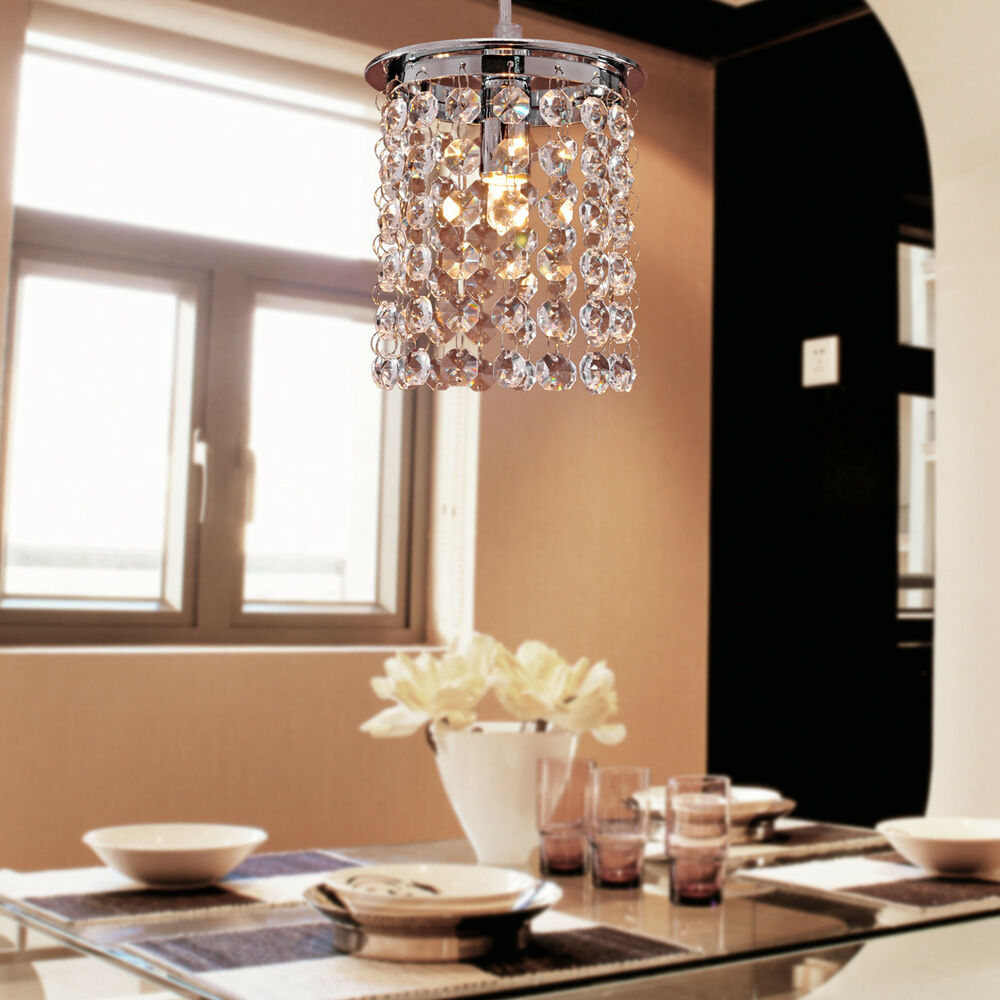 Mini crystal chandelier ceiling pendant lights hanging for Ebay living room lights