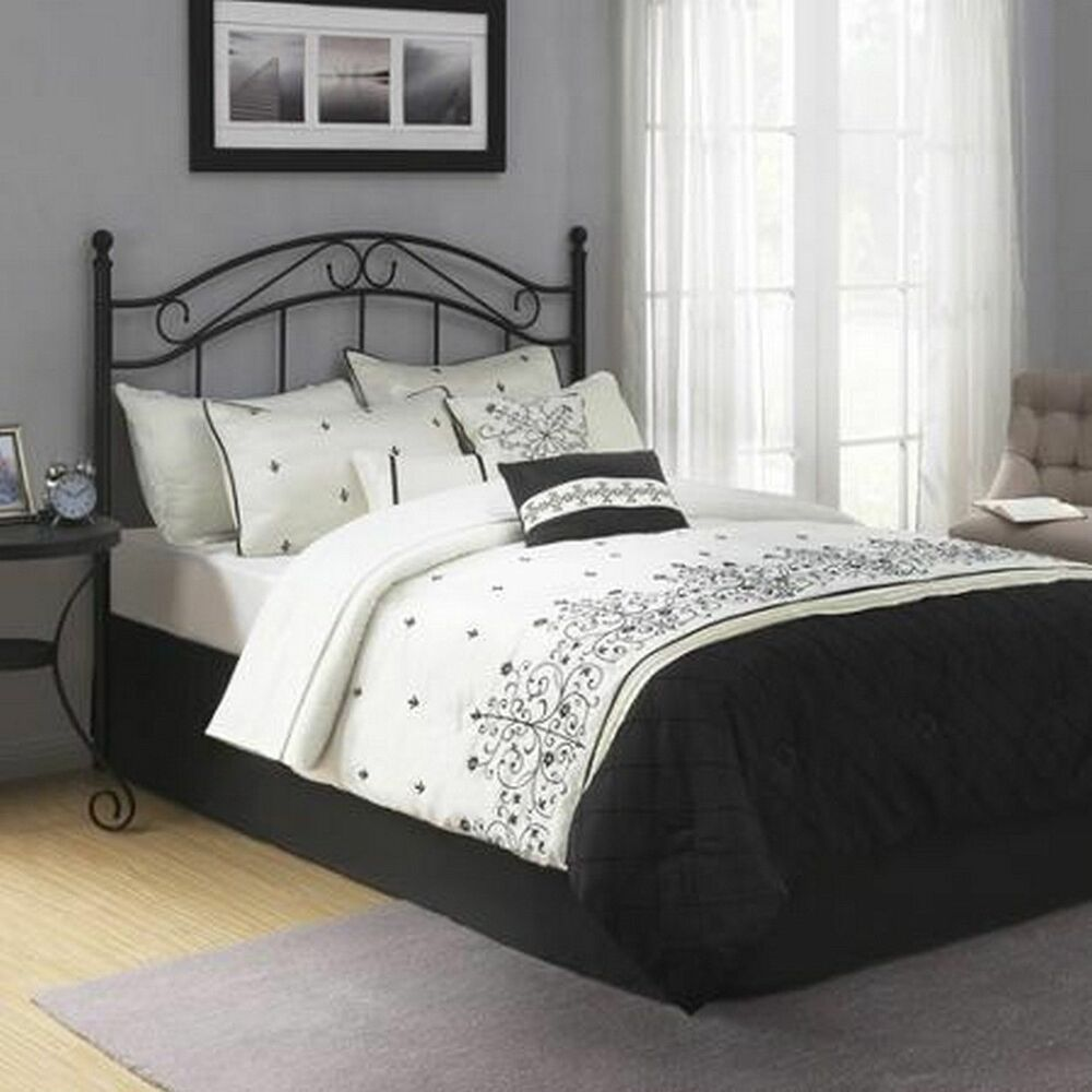 Traditional Metal Black Full Queen Size Headboard Bed ...