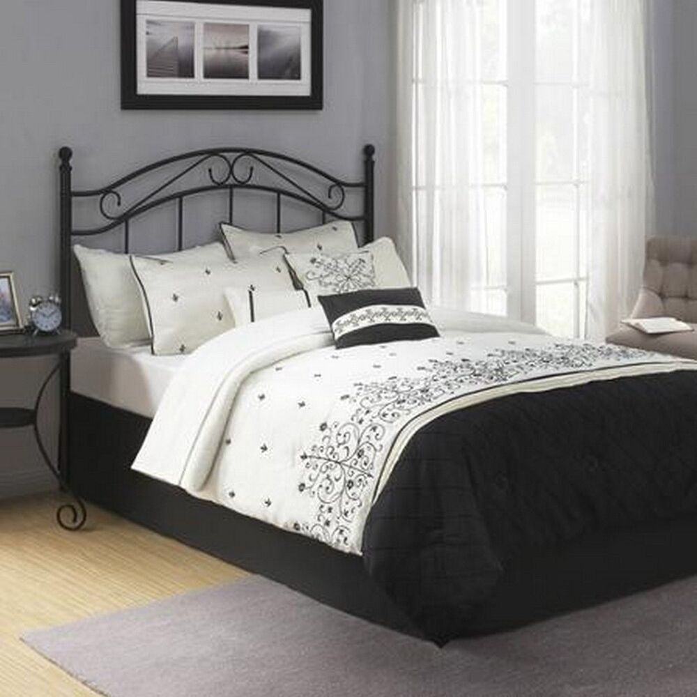 traditional metal black full queen size headboard bed bedroom frame furniture ebay. Black Bedroom Furniture Sets. Home Design Ideas