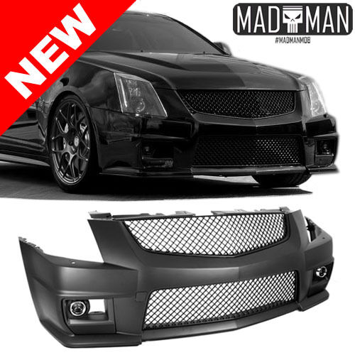 2008 2012 cadillac cts v conversion front bumper w black grilles fog lights ebay. Black Bedroom Furniture Sets. Home Design Ideas