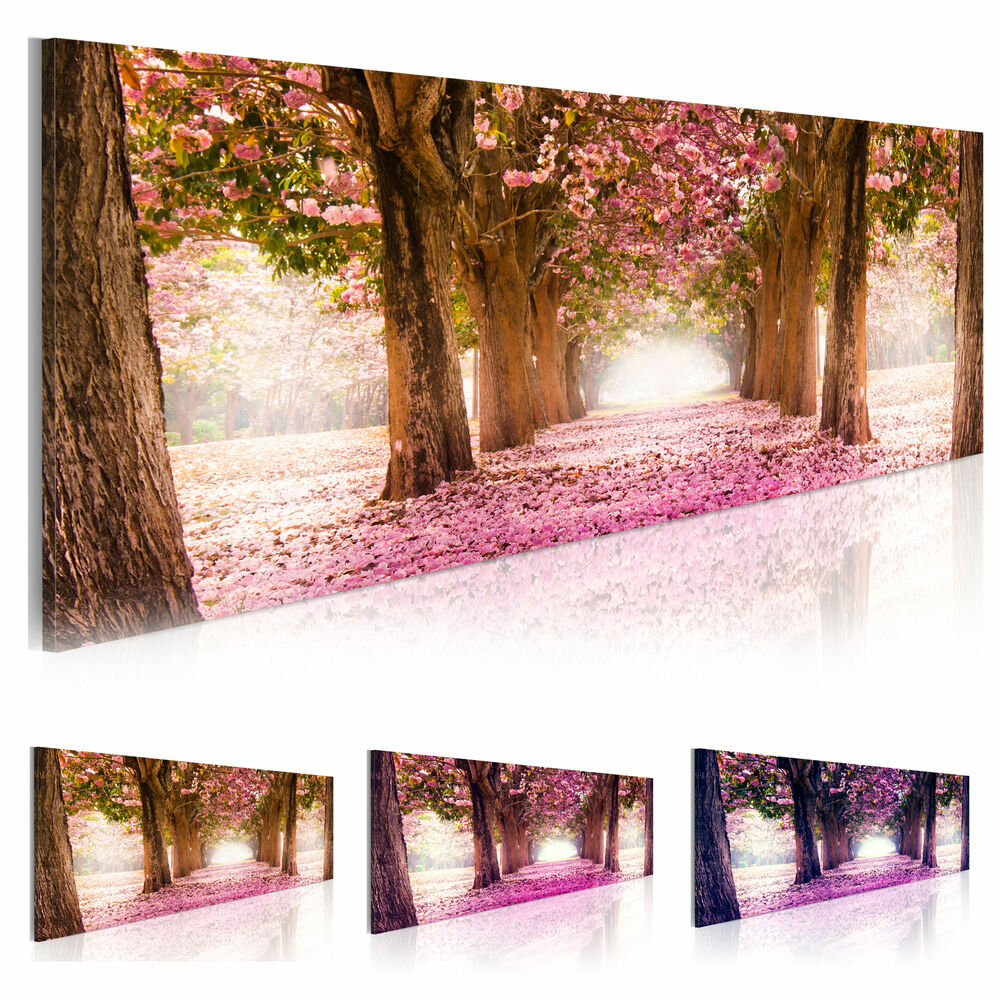 leinwand bilder xxl fertig aufgespannt bild blumen weg park c a 0052 b b ebay. Black Bedroom Furniture Sets. Home Design Ideas