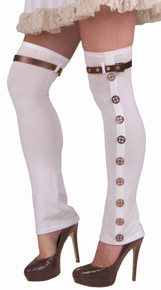 white ladies steampunk buckled thigh high boots spats