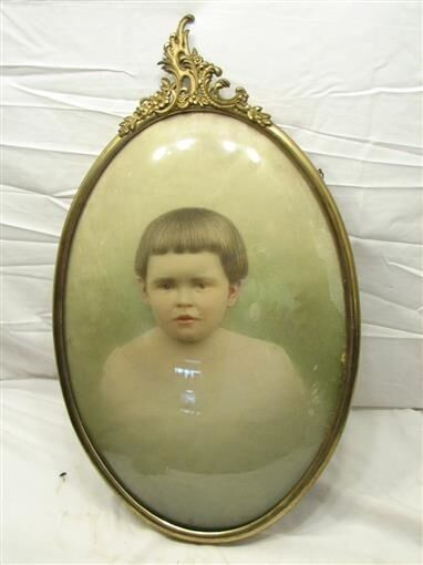 Vintage Metal Dome Bubble Glass Picture Baby Photo Frame