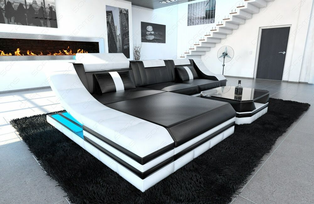 designersofa eckcouch wohnzimmer turino l form led rgb beleuchtung ottomane sofa ebay. Black Bedroom Furniture Sets. Home Design Ideas
