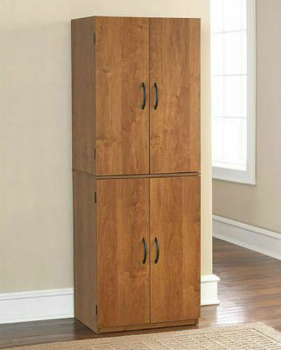 Tall kitchen pantry shelf food storage cabinet wood cupboard bathroom organizer ebay - Bathroom pantry cabinets ...