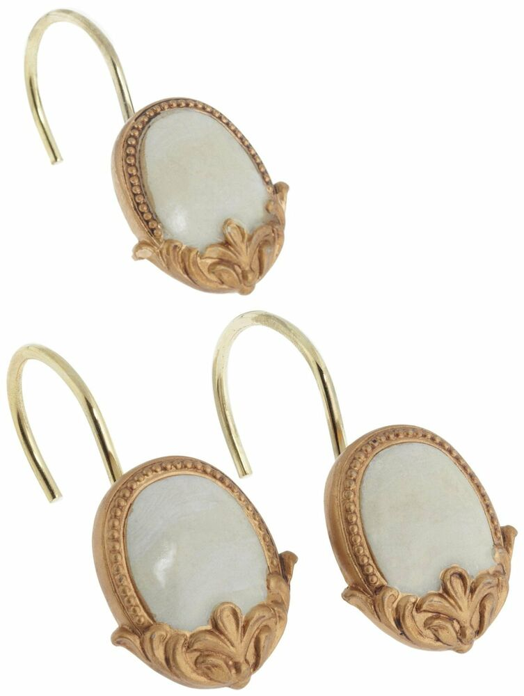 Carnation Newport Set Of 12 Resin Shower Curtain Hooks Beige And Gold Ebay