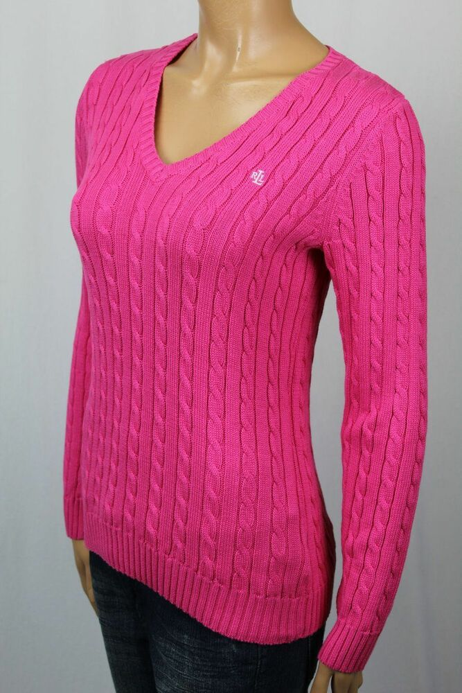 Ralph Lauren Pink Cable Knit V Neck Sweater White Lrl Nwt