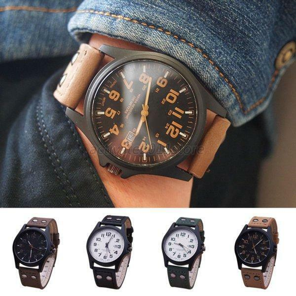 s fashion sport watches leather band