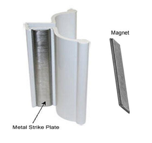 White Frameless Shower Door Handle With Metal Strike And