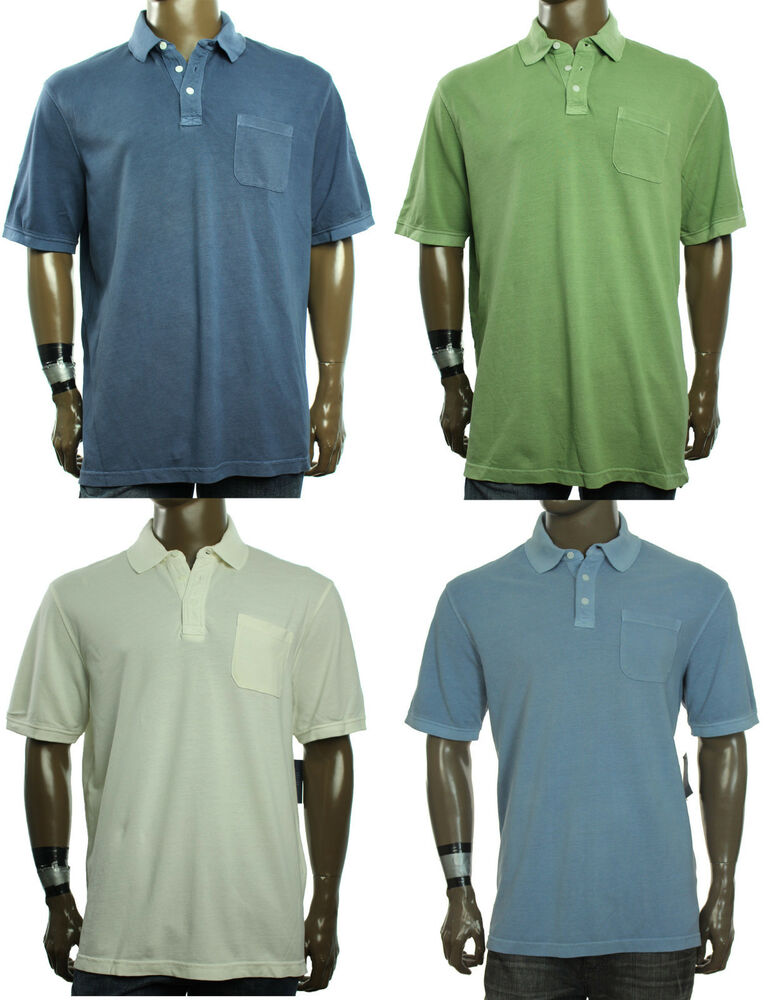 New mens club room washed cotton chest pocket short sleeve for Men s cotton polo shirts with pocket