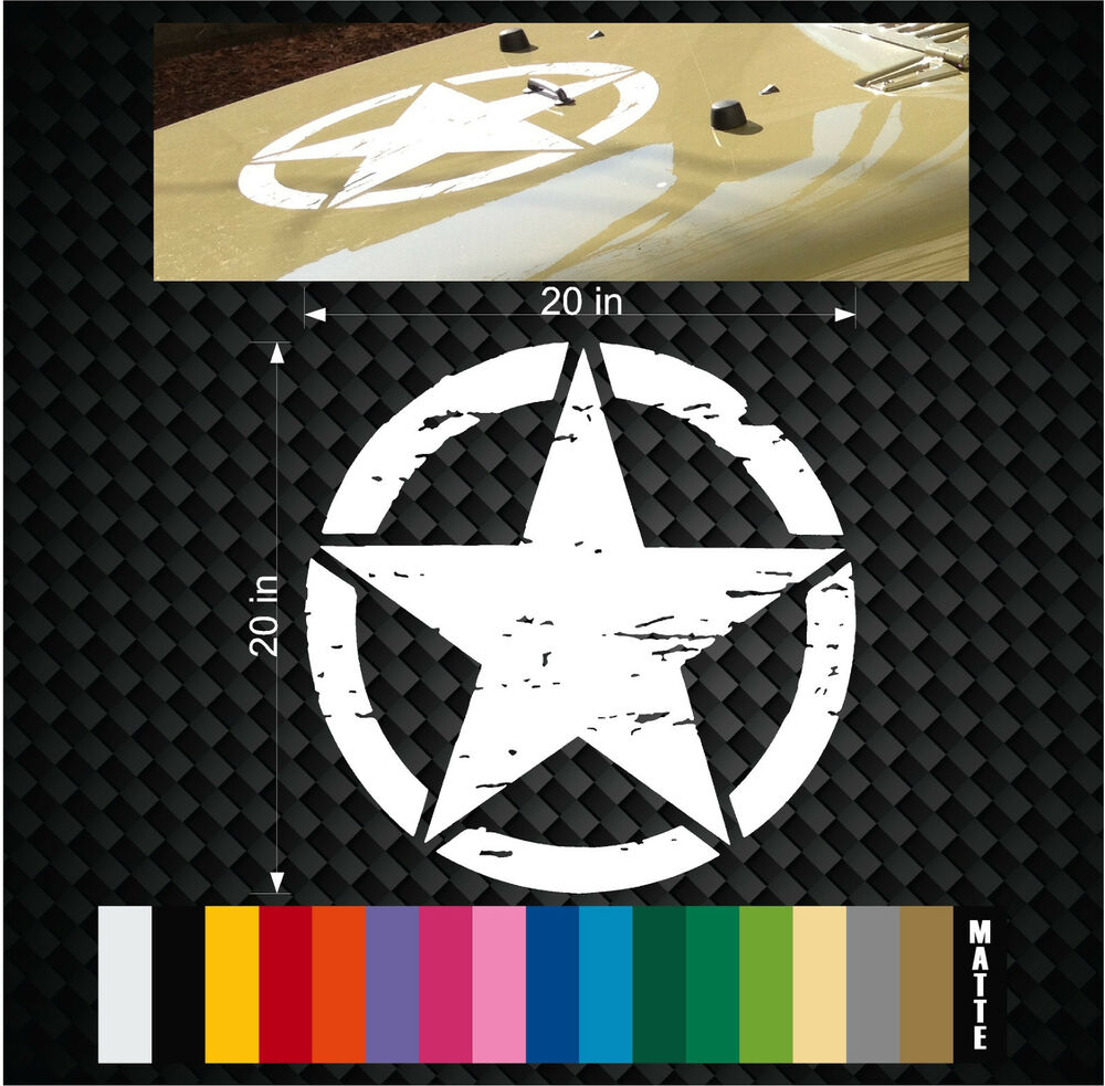 Military Jeep Wrangler Distressed Star Hood Decal 20 Quot Tj