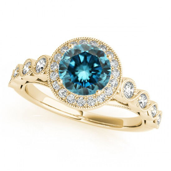 1 11 Ct Blue Diamond Solitaire Engagement Ring 14k Yellow Gold Best Deal on E