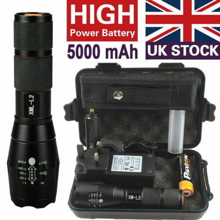 img-20000lm Police Flashlight CREE XML L2 LED Zoom Military Tactical Torch+Battery