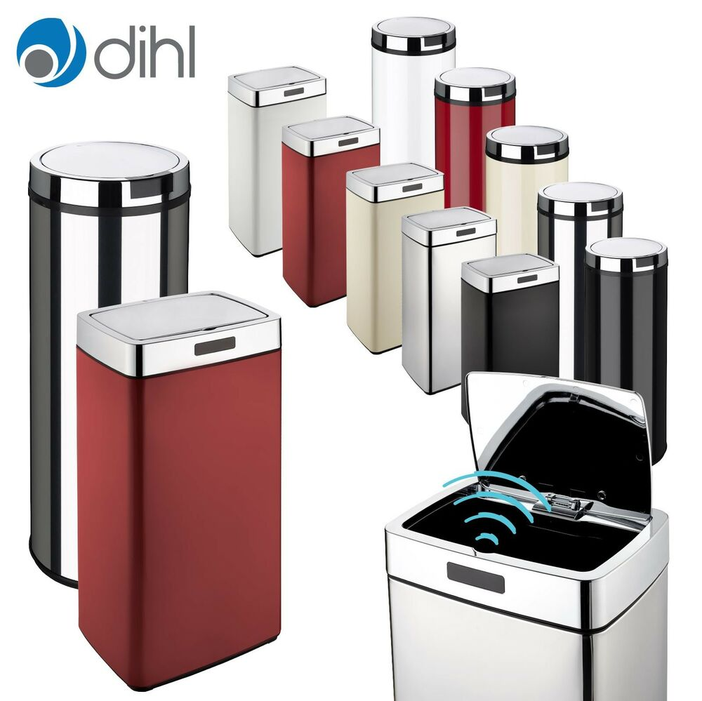 Kitchen Waste Bins: Dihl Mono Automatic Sensor Bin Chrome Lid Various Sizes
