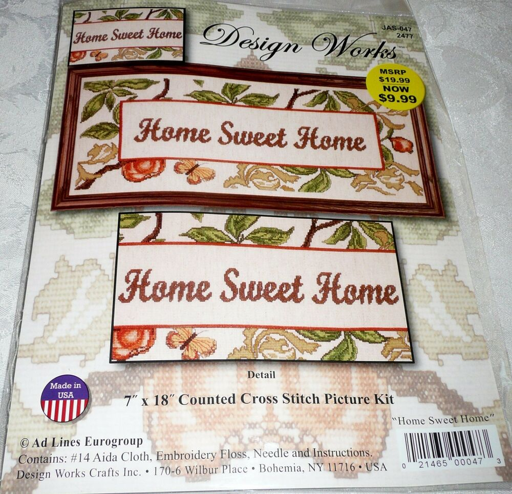 "Design Works Counted Cross Stitch Kit HOME SWEET HOME 7"" X"