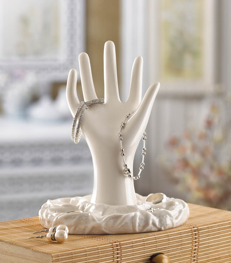 ivory vanity jewelry stand hand shape ring hook storage
