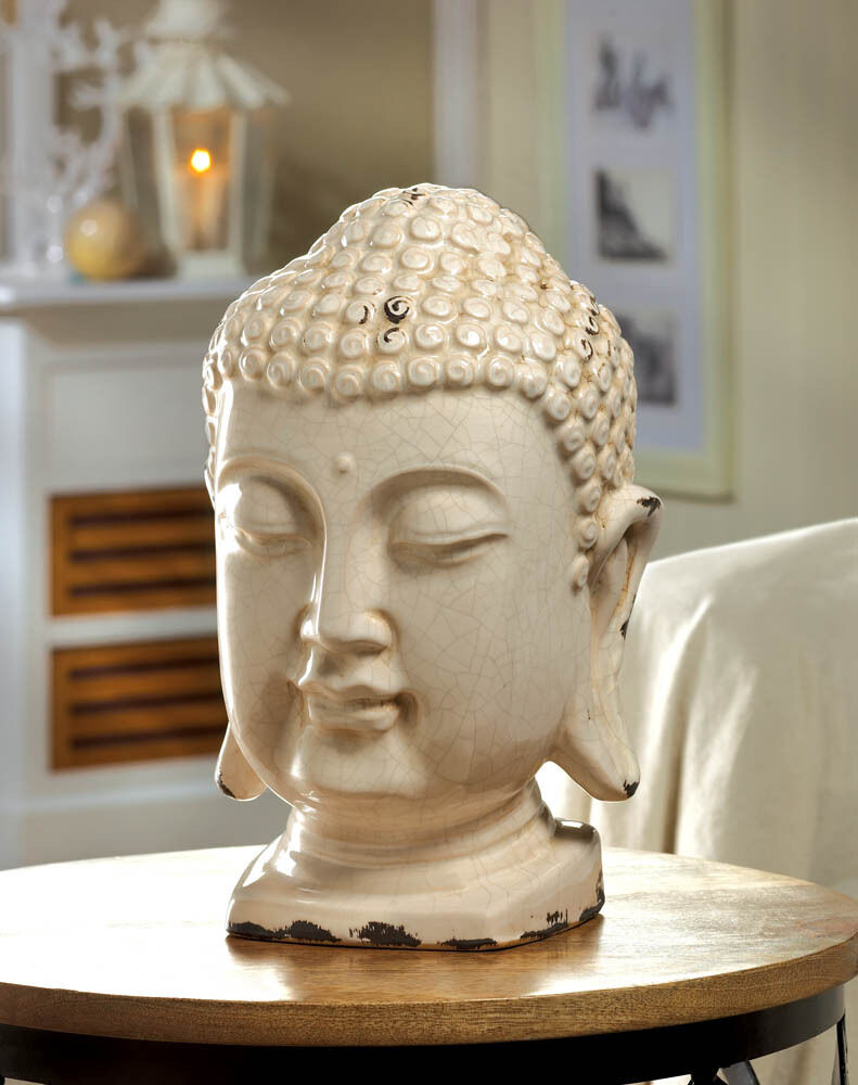 large 12 distressed white chic ceramic buddha head shabby outdoor garden statue ebay. Black Bedroom Furniture Sets. Home Design Ideas