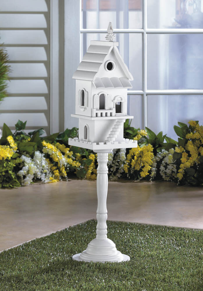 Two Story Free Standing Pedestal Birdhouse Bird Seed