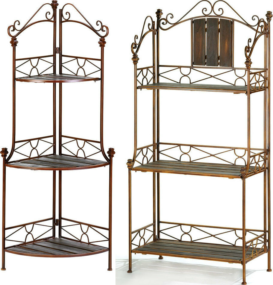 kitchen racks and storage 2 pc set rustic bakers rack shelf amp rustic corner bakers 5543