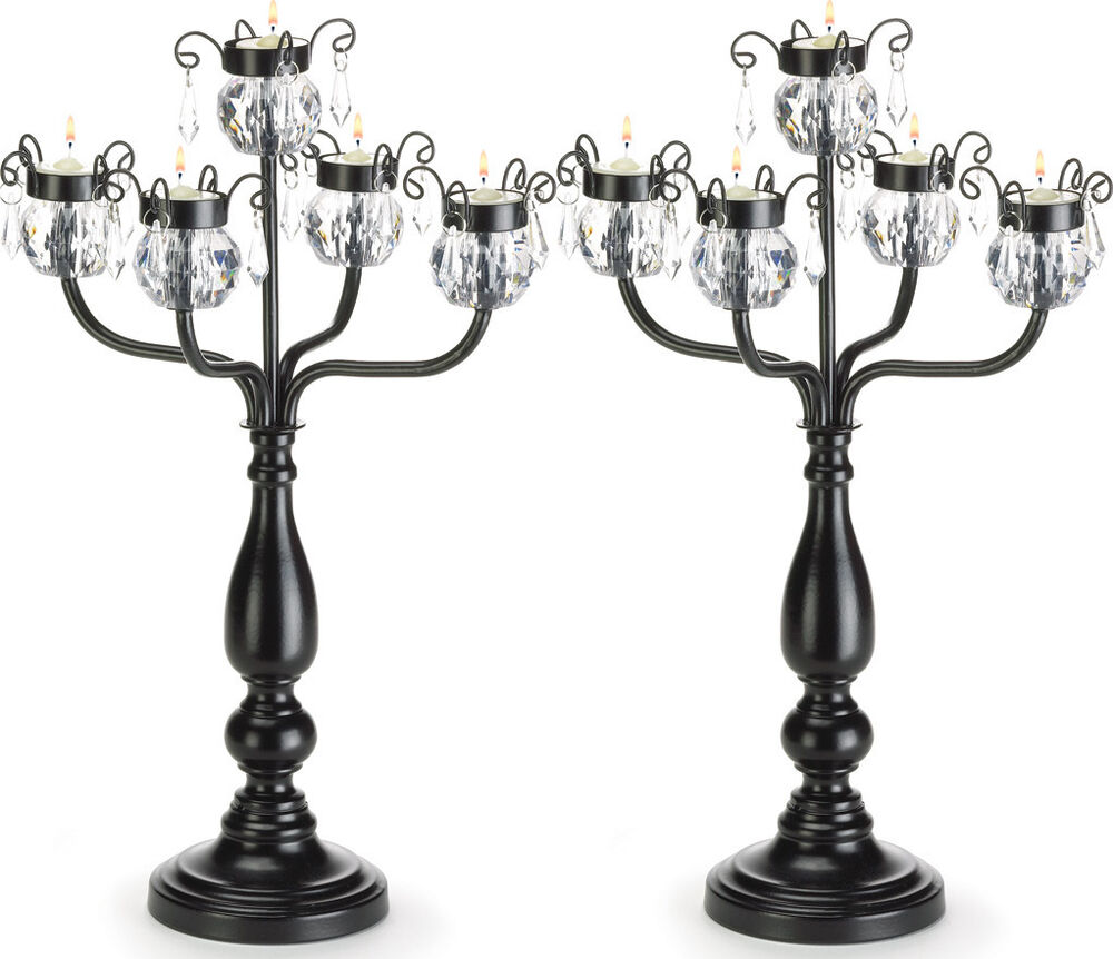 Tall Centerpiece Candle Holders : Candelabra candle holder black extra large wedding