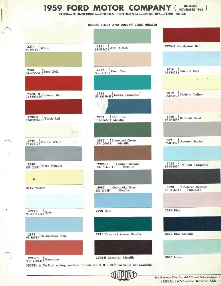1959 ford thunderbird paint colors for Ford motor paint colors
