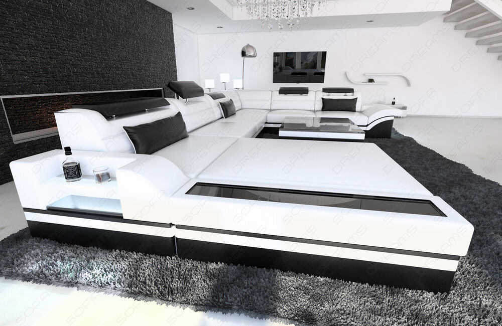 design sectional sofa mezzo xxl with led lights white. Black Bedroom Furniture Sets. Home Design Ideas