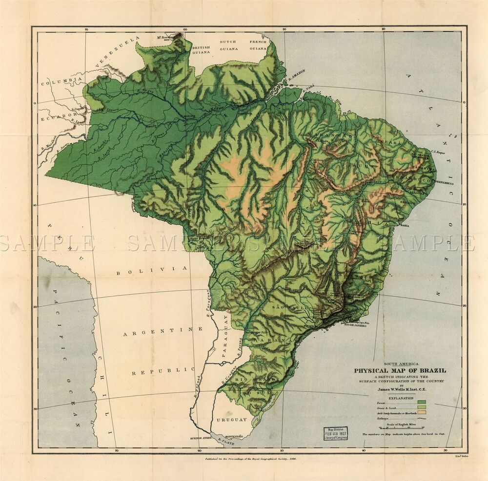 Map Antique Wells 1886 Brazil Physical Old Large Replica Poster