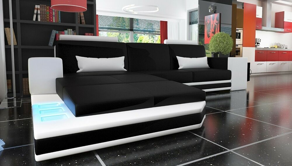 ledersofa wohnlandschaft xxl big sofa eck couch ecksofa bar mit beleuchtung neu ebay. Black Bedroom Furniture Sets. Home Design Ideas
