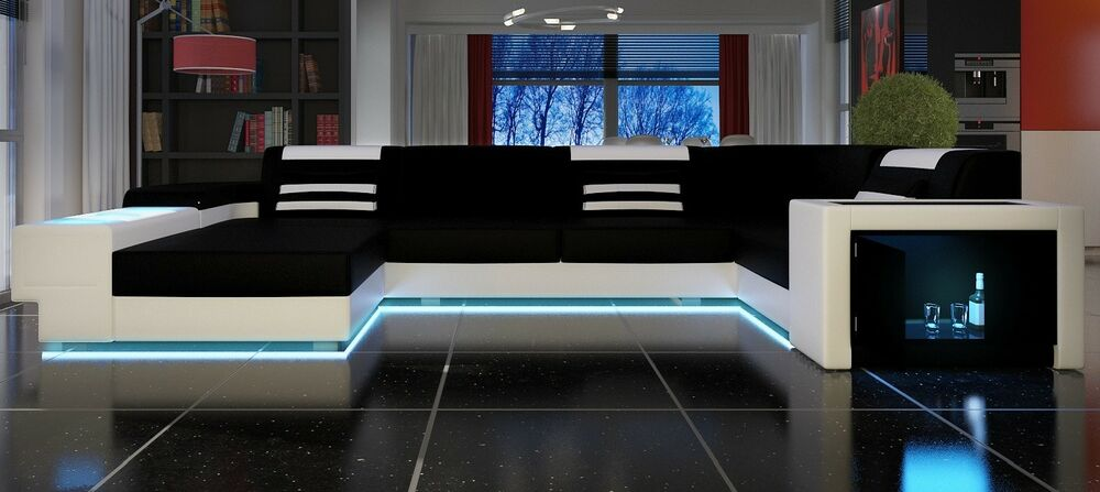 leder wohnlandschaft ledersofa u form designersofa mit beleuchtung ebay. Black Bedroom Furniture Sets. Home Design Ideas