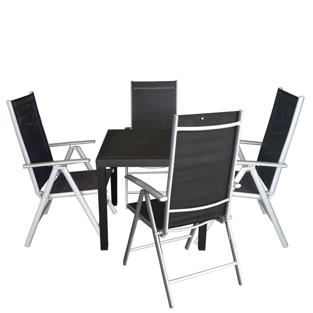 5tlg balkonm bel bistro set sitzgruppe sitzgarnitur 79x79cm aluminium hochlehner ebay. Black Bedroom Furniture Sets. Home Design Ideas