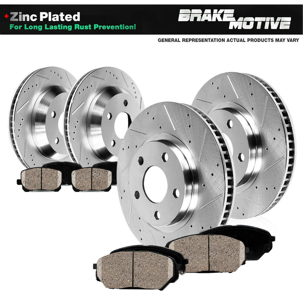 FRONT+REAR DRILLED SLOTTED BRAKE ROTORS & CERAMIC PADS ...