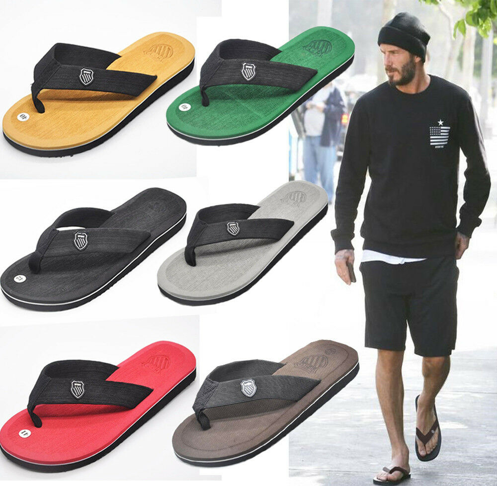 Fashion Celeb Beckham Mens Summer Beach Flat Flip Flops ...