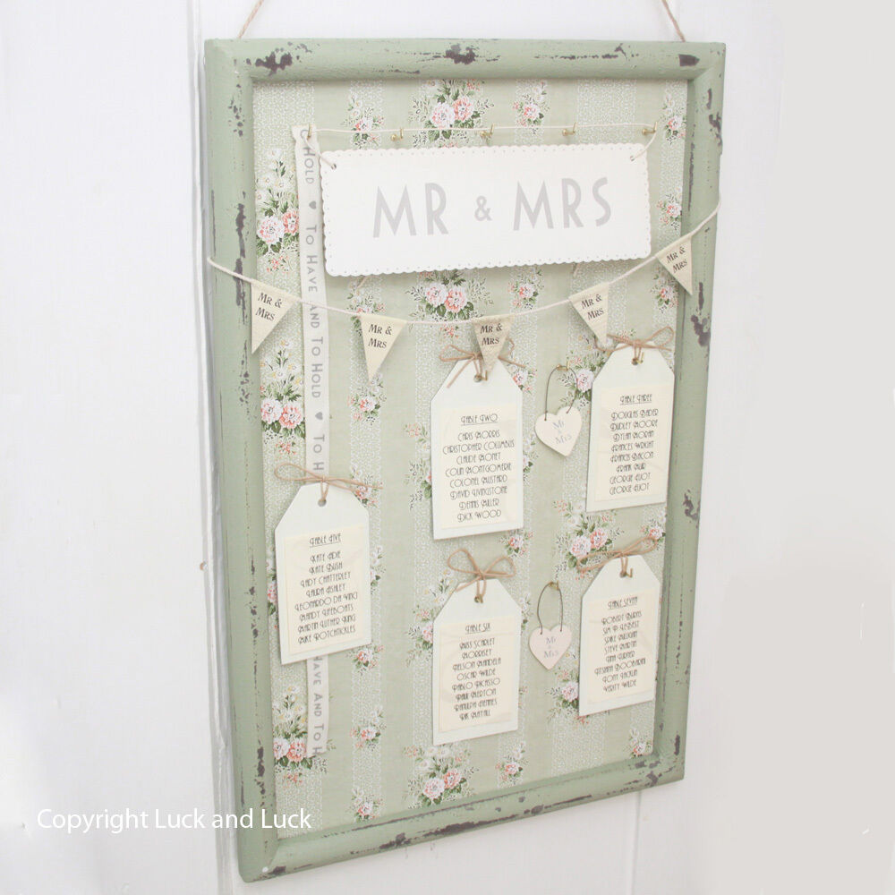Vintage style green floral frame for wedding table plan for Unusual table plans