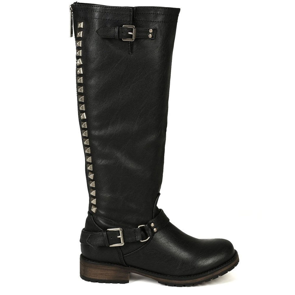Womens Studded Knee High Riding Boots Pu Leather Buckle Combat Military Fashion Ebay