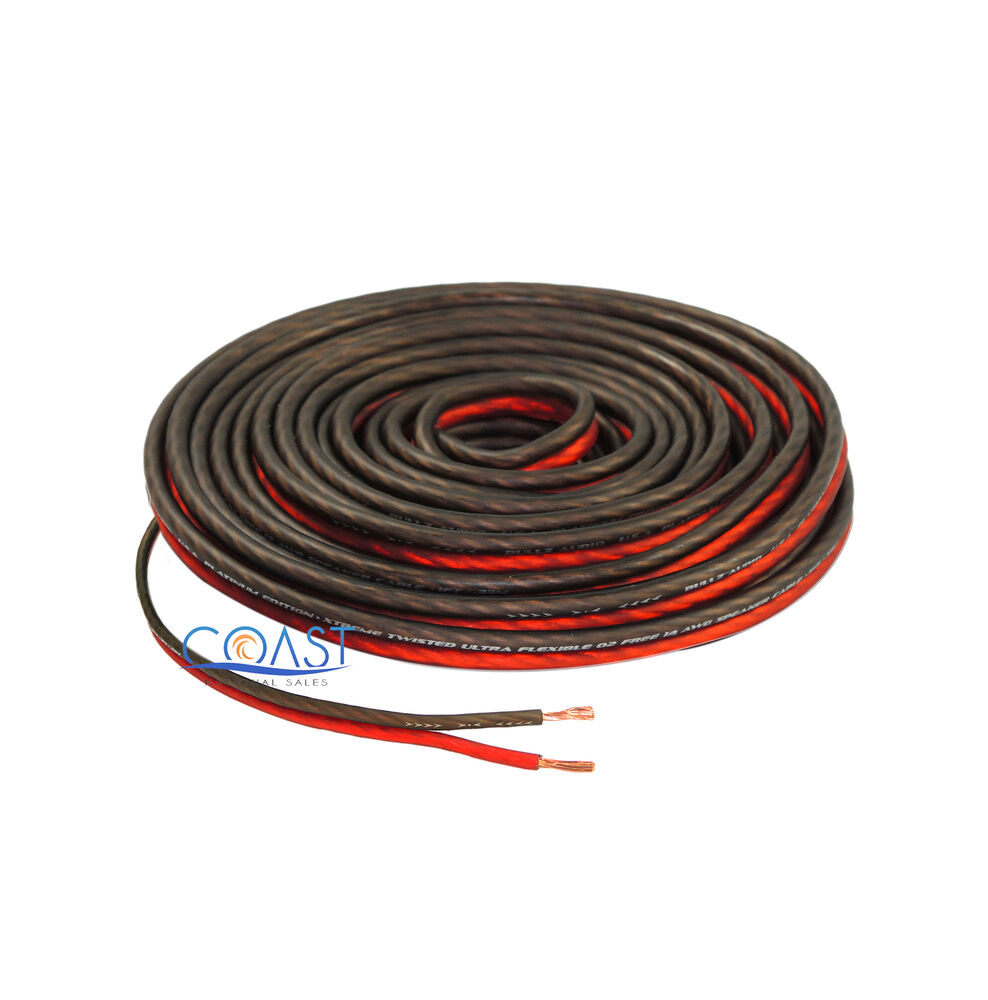 Home Audio Speaker Wire : Red ft true gauge awg car home audio speaker wire
