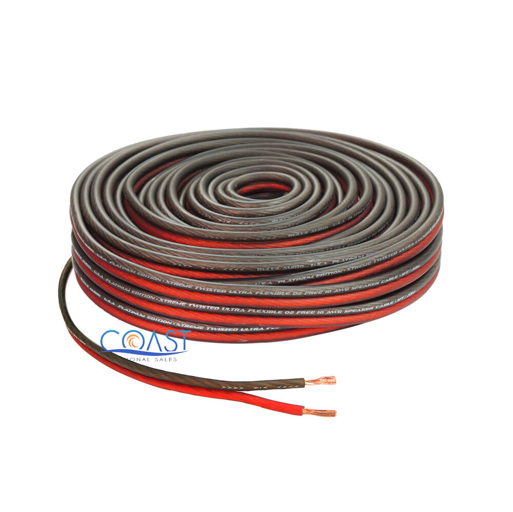 red 50 ft true 10 gauge awg car home audio speaker wire cable spool ebay. Black Bedroom Furniture Sets. Home Design Ideas