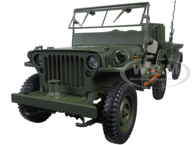jeep willys army green with trailer and accessories 1 18 model by autoart 74016 ebay. Black Bedroom Furniture Sets. Home Design Ideas