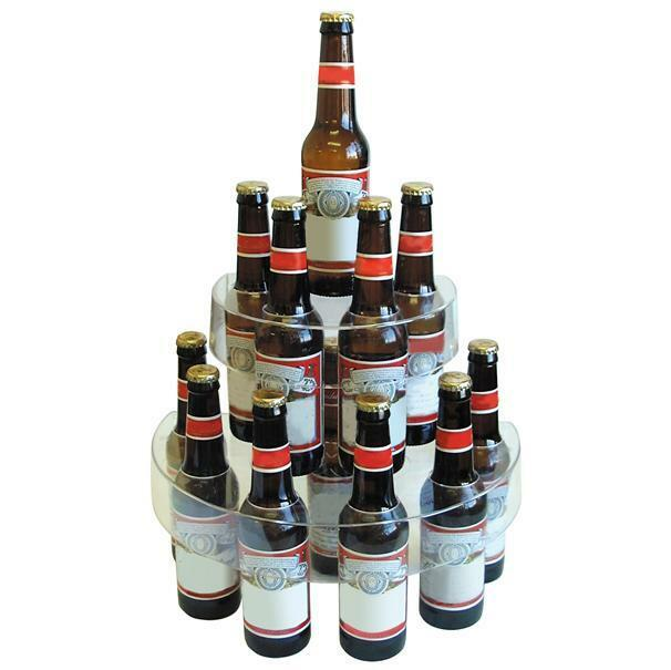 Clear Two Tier Plastic Bottle Display Stand Drinks Alcohol