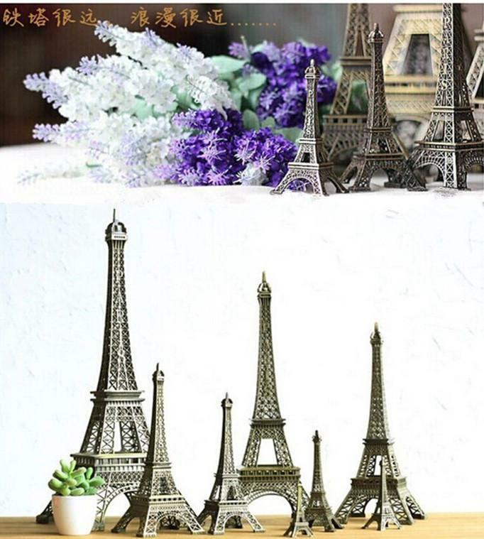 Paris Home Decor: Vintage Bronze Paris Eiffel Tower Figurine Statue Model