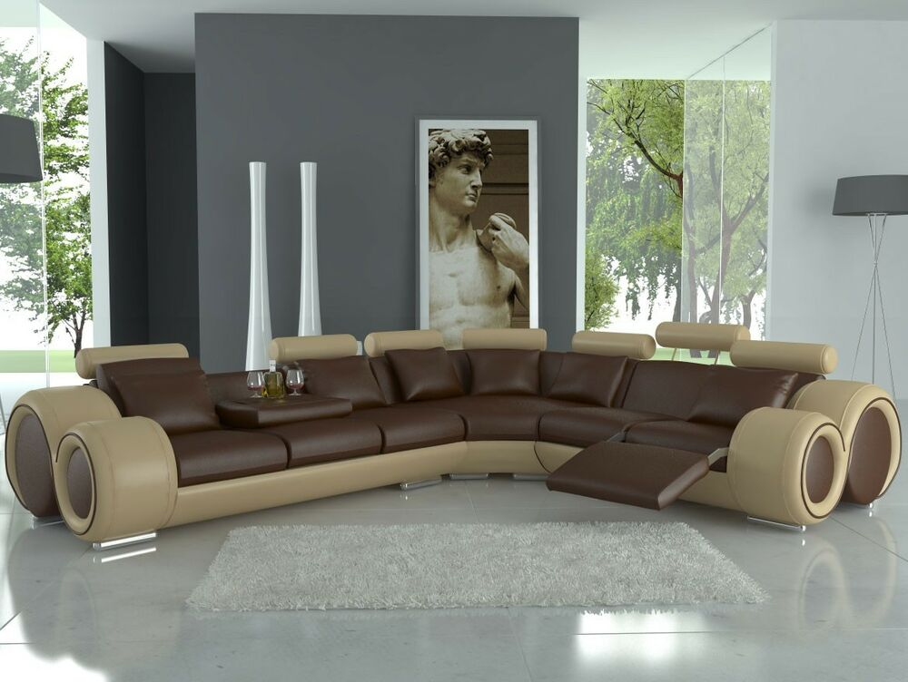 ledersofa designer ledercouch garnitur ecksofa wohnlandschaft mit relax funktion ebay. Black Bedroom Furniture Sets. Home Design Ideas