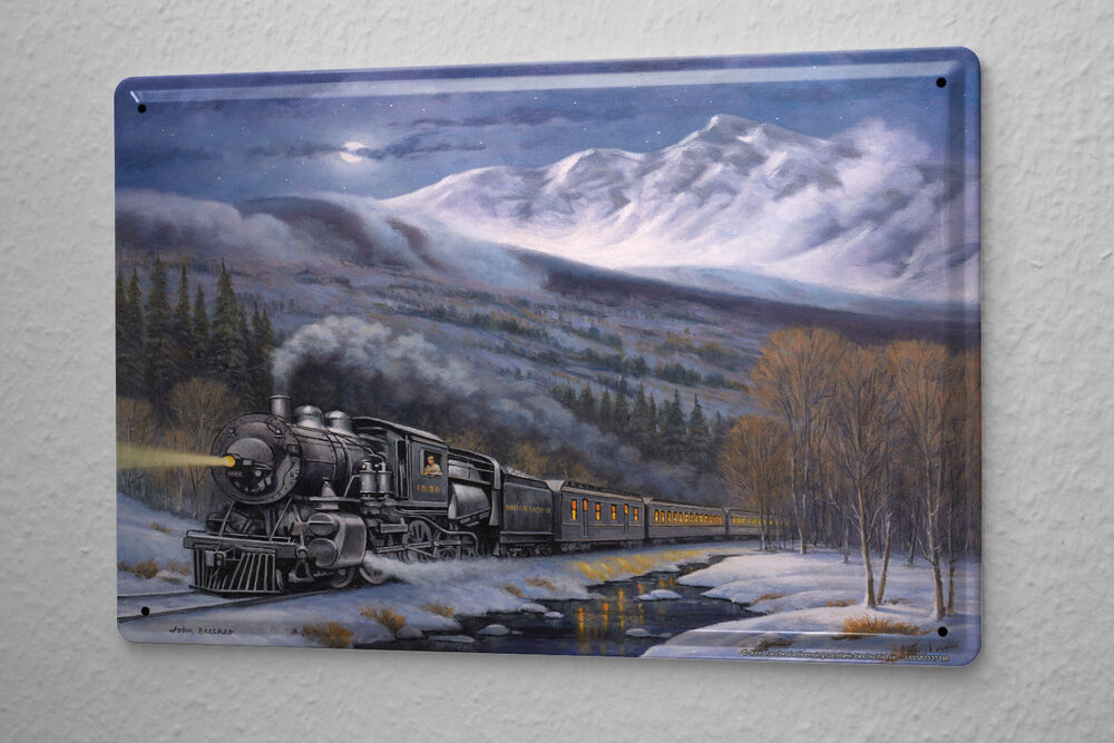 Decorative tin sign train station snow mountain railway for Plaque metal deco pour mur