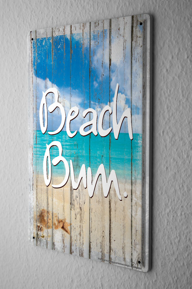 Tin Wall Decor Vintage : Retro tin sign wall decor plate beach bum metal