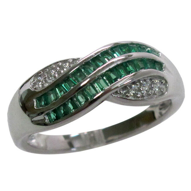 emerald 925 sterling silver ring size 5 10 ebay