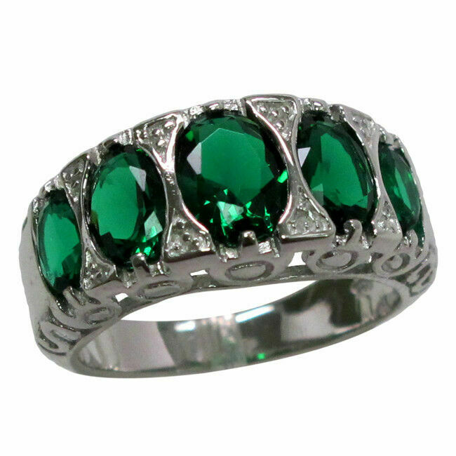 awesome 4 ct emerald 925 sterling silver ring size 5 10 ebay
