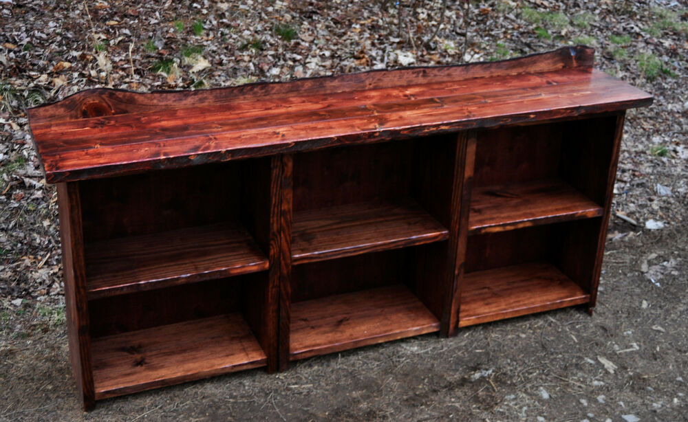 Rustic red pine book case shelf wood furniture log cabin