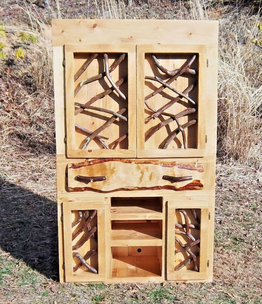 Rustic Tv Media Entertainment Center Withtwig Doors Log Home Cabin Furniture Ebay