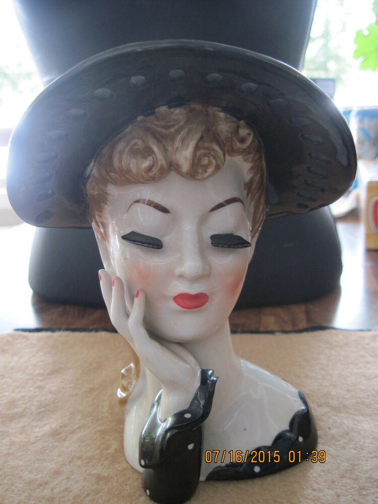 Vintage Black Amp White Polka Dot Ceramic Lady S Head Planter Vase 50 S 60 S Ebay