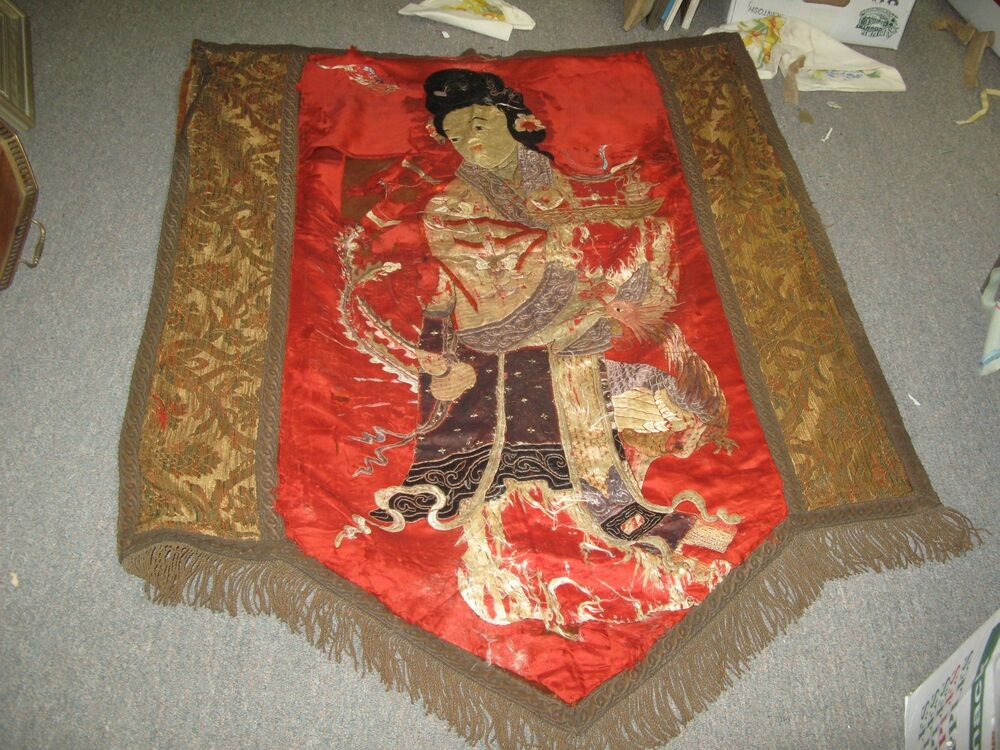Antique fine chinese silk metallic geisha embroidery for Asian antiques uk