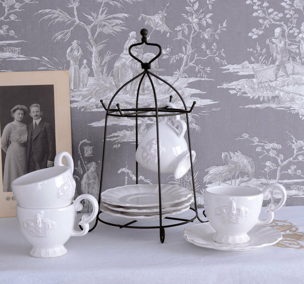 shabby chic teeservice vintage kaffeeservice weiss tischset antik porzellan ebay. Black Bedroom Furniture Sets. Home Design Ideas